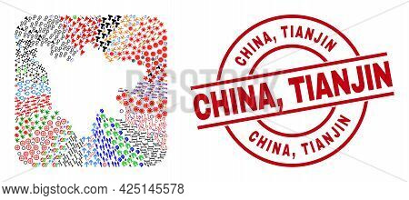Vector Collage Sichuan Province Map Of Different Symbols And China, Tianjin Seal Stamp. Collage Sich