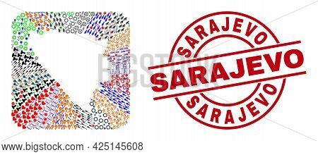 Vector Collage Bosnia And Herzegovina Map Of Different Pictograms And Sarajevo Seal Stamp. Collage B