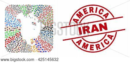 Vector Mosaic North America V2 Map Of Different Symbols And America Iran Seal. Mosaic North America