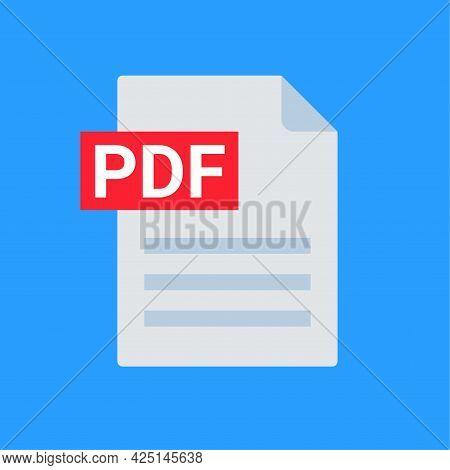 Pdf File Icon Format. Pdf Download Document Image Button Vector Doc Icon
