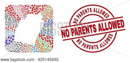Vector Mosaic Manipur State Map Of Different Symbols And No Parents Allowed Seal Stamp. Mosaic Manip