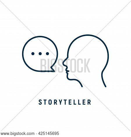 Storyteller Brand Digital Logo Icon. Story Teller Illustration Badge Vector Icon