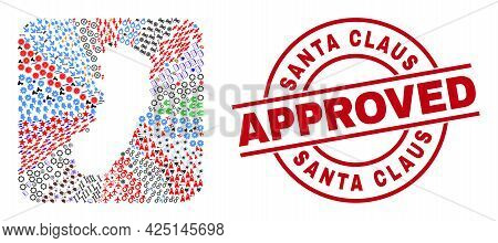 Vector Mosaic Espirito Santo State Map Of Different Pictograms And Santa Claus Approved Stamp. Mosai