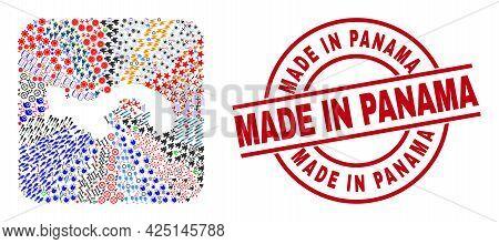 Vector Mosaic Panama Map Of Different Symbols And Made In Panama Seal Stamp. Mosaic Panama Map Creat