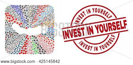 Vector Mosaic Sao Miguel Island Map Of Different Icons And Invest In Yourself Seal Stamp. Mosaic Sao