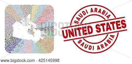 Vector Mosaic Canada Map Of Different Symbols And Saudi Arabia United States Stamp. Collage Canada M