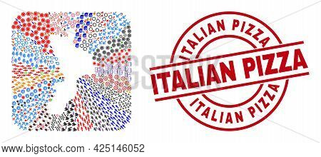 Vector Collage Calabria Region Map Of Different Symbols And Italian Pizza Seal Stamp. Collage Calabr
