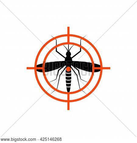 Mosquito Insect Repellent Zika Vector Logo. Mosquito Target Aim Icon Repellent