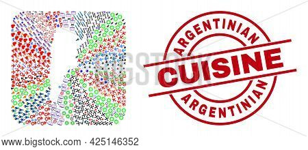 Vector Collage Argentina Map Of Different Pictograms And Argentinian Cuisine Stamp. Collage Argentin