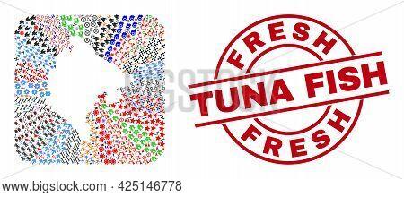 Vector Mosaic Montenegro Map Of Different Symbols And Fresh Tuna Fish Seal Stamp. Mosaic Montenegro