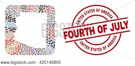 Vector Mosaic Arizona State Map Of Different Symbols And United States Of America Fourth Of July Sea