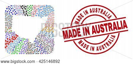 Vector Collage New South Wales Map Of Different Symbols And Made In Australia Seal Stamp. Collage Ne