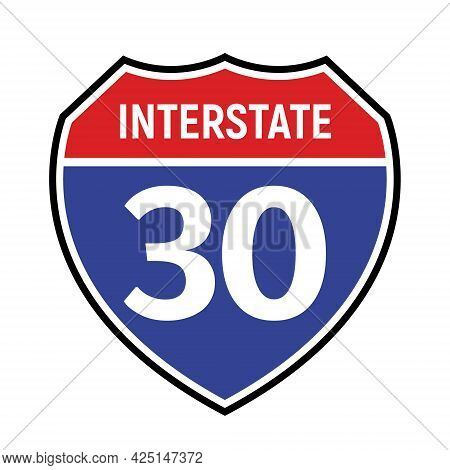 30 Route Sign Icon. Vector Road 30 Highway Interstate American Freeway Symbol