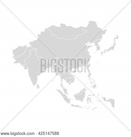 Asia Vector Map Southeast Country, Asian East Continent Icon Silhouette China Malaysia Japan