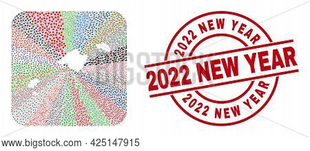 Vector Mosaic Balearic Islands Map Of Different Pictograms And 2022 New Year Seal Stamp. Mosaic Bale
