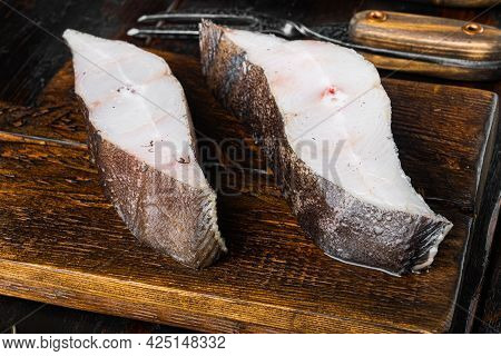 Fresh Steak Raw Fish Halibut Set, With Ingredients And Rosemary Herbs, On Old Dark  Wooden Table Bac