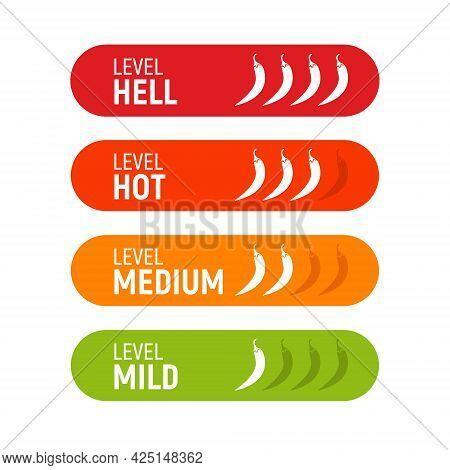 Hot Pepper Heat Level Icon. Chili Pepper Symbol Vector Scale Fire Logo Label