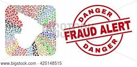 Vector Mosaic Sergipe State Map Of Different Symbols And Danger Fraud Alert Seal Stamp. Mosaic Sergi