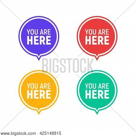 You Are Here Sign Icon Mark. Destination Or Location Point Concept. Pin Position Marker Design