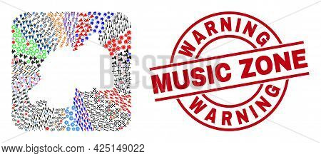 Vector Collage Rwanda Map Of Different Icons And Warning Music Zone Badge. Collage Rwanda Map Design