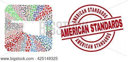 Vector Mosaic Oklahoma State Map Of Different Symbols And American Standards Badge. Mosaic Oklahoma