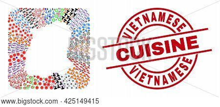 Vector Collage Sikkim State Map Of Different Symbols And Vietnamese Cuisine Seal Stamp. Collage Sikk
