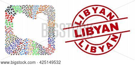 Vector Collage Libya Map Of Different Icons And Libyan Badge. Mosaic Libya Map Created As Carved Sha