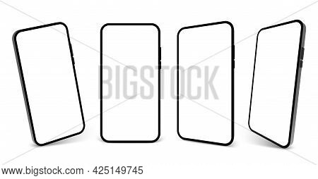 Smartphone Mockup Vector Screen Cell Phone 3d. Smart Phone Mockup Background Isolated Template
