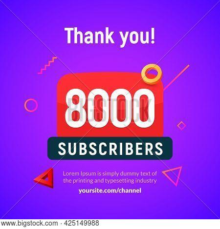 8000 Followers Vector Post 8k Celebration. Seven Thousand Subscribers Followers Thank You Congratula