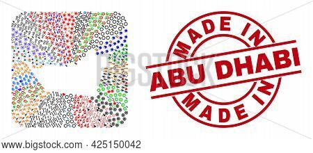 Vector Mosaic Abu Dhabi Emirate Map Of Different Pictograms And Made In Abu Dhabi Seal Stamp. Mosaic