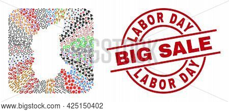 Vector Collage Lubusz Voivodeship Map Of Different Pictograms And Labor Day Big Sale Stamp. Collage