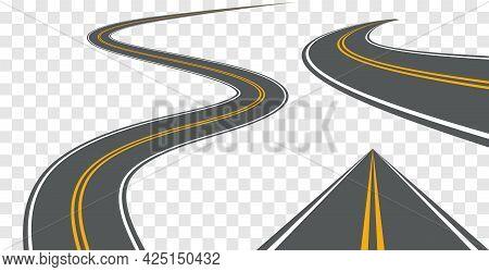 Vector Road Way Winding Journey Highway Illustration. Asphalt Street Path Isolated Road