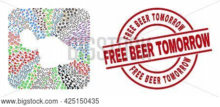 Vector Collage Maui Island Map Of Different Symbols And Free Beer Tomorrow Seal Stamp. Collage Maui