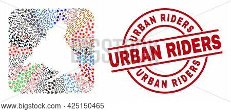 Vector Mosaic Madrid Province Map Of Different Symbols And Urban Riders Stamp. Mosaic Madrid Provinc