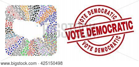Vector Mosaic United States Map Of Different Symbols And Vote Democratic Seal Stamp. Collage United
