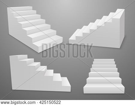 Staircase Vector 3d Isolated Construction Interior Modern Success. 3d Ladder Stair Pedestal
