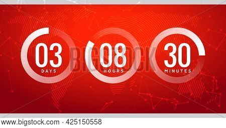 Time Countdown Clock Timer Circle Number. Stopwatch Vector Count Counter Digital Ui Modern Timer