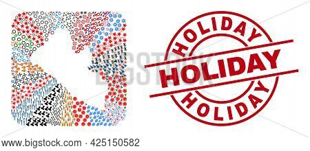 Vector Mosaic Liberia Map Of Different Symbols And Holiday Badge. Mosaic Liberia Map Designed As Ste