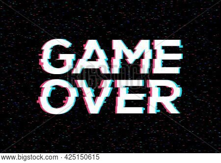 Game Over Glitch Pattern Retro Background. Video Game Screen Vhs 80s Vector Poster