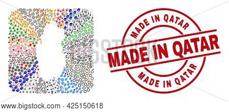 Vector Mosaic Qatar Map Of Different Symbols And Made In Qatar Badge. Mosaic Qatar Map Designed As S