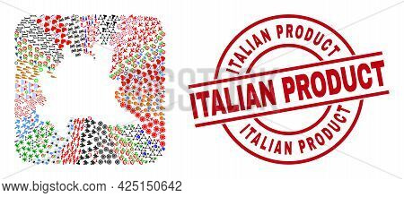 Vector Mosaic Lombardy Region Map Of Different Symbols And Italian Product Seal Stamp. Collage Lomba