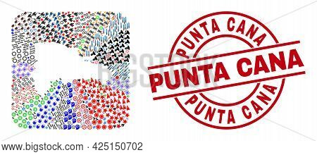 Vector Mosaic Dominican Republic Map Of Different Pictograms And Punta Cana Seal. Mosaic Dominican R
