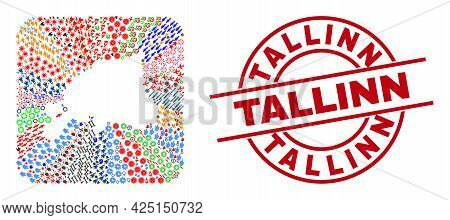 Vector Collage Estonia Map Of Different Pictograms And Tallinn Seal Stamp. Mosaic Estonia Map Constr