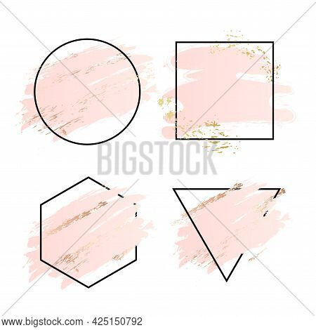 Rose And Pink Background Stroke Frame. Vector Gold Pink Brush Makeup Beauty Abstract Geometric Logo