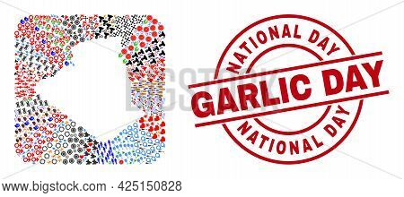 Vector Mosaic Algeria Map Of Different Icons And National Day Garlic Day Seal Stamp. Mosaic Algeria
