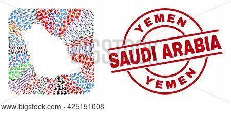 Vector Mosaic Saudi Arabia Map Of Different Icons And Yemen Saudi Arabia Badge. Mosaic Saudi Arabia