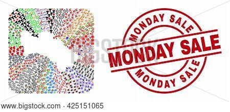 Vector Mosaic Turkmenistan Map Of Different Symbols And Monday Sale Seal Stamp. Mosaic Turkmenistan