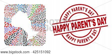 Vector Mosaic Ontario Province Map Of Different Pictograms And Happy Parents Day Badge. Mosaic Ontar