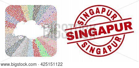Vector Mosaic Singapore Map Of Different Symbols And Singapur Seal Stamp. Mosaic Singapore Map Const