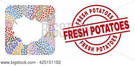 Vector Mosaic Swietokrzyskie Voivodeship Map Of Different Pictograms And Fresh Potatoes Stamp. Mosai